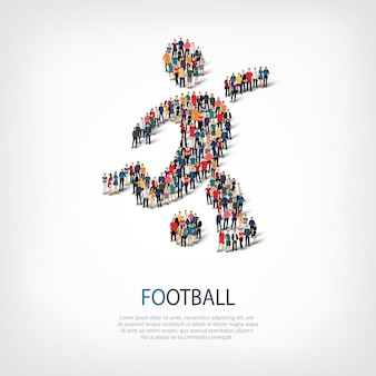 Isometric set of styles abstract  symbol football web infographics concept of a crowded square