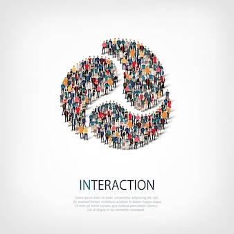 Isometric set of styles abstract  symbol interaction web infographics concept of a crowded square