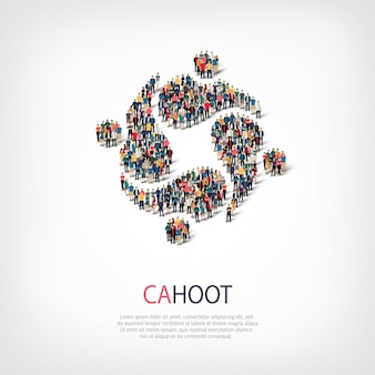 Isometric set of styles, cahoot, web infographics concept illustration of a crowded square. crowd point group forming a predetermined shape. creative people.