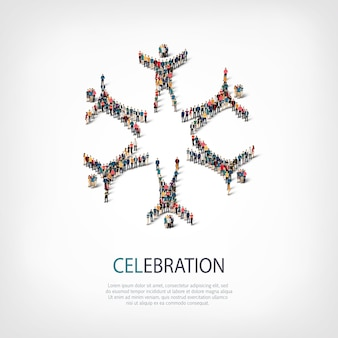Isometric set of styles,celebration sign , web infographics concept illustration of a crowded square. crowd point group forming a predetermined shape. creative people.