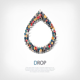 Isometric set of styles, drop, web infographics concept illustration of a crowded square. crowd point group forming a predetermined shape. creative people.