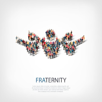 Isometric set of styles, fraternity, web infographics concept illustration of a crowded square. crowd point group forming a predetermined shape. creative people.