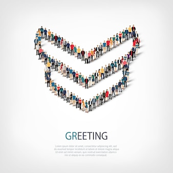 Isometric set of styles, greeting, web infographics concept illustration of a crowded square. crowd point group forming a predetermined shape. creative people.