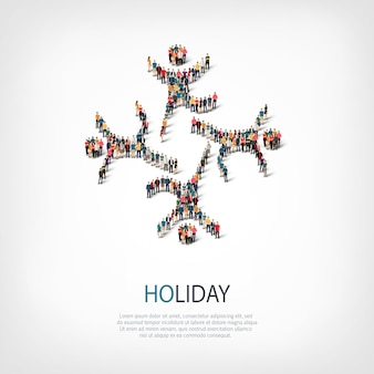 Isometric set of styles, holiday, web infographics concept illustration of a crowded square. crowd point group forming a predetermined shape. creative people.