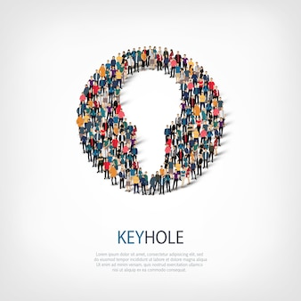 Isometric set of styles, keyhole, web infographics concept  illustration of a crowded square. crowd point group forming a predetermined shape. creative people.