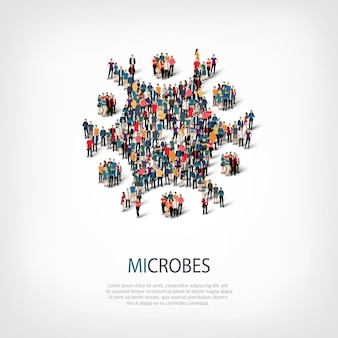 Isometric set of styles, microbes, web infographics concept  illustration of a crowded square. crowd point group forming a predetermined shape.