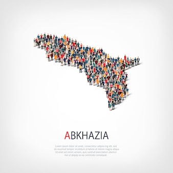 Isometric set of styles, people, map of abkazia , country, web infographics concept of crowded space. crowd point group forming a predetermined shape. creative people.