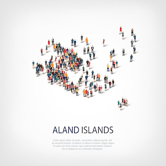 Isometric set of styles, people, map of aland islands, country, web infographics concept of crowded space. crowd point group forming a predetermined shape. creative people.