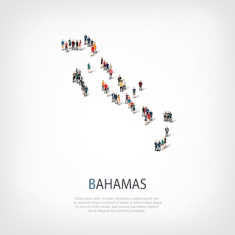 Isometric set of styles, people, map of bahamas, country, web infographics concept of crowded space. crowd point group forming a predetermined shape. creative people.