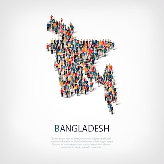 Isometric set of styles, people, map of bangladesh , country, web infographics concept of crowded space. crowd point group forming a predetermined shape. creative people.
