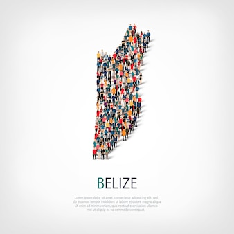 Isometric set of styles, people, map of belize , country, web infographics concept of crowded space. crowd point group forming a predetermined shape. creative people.