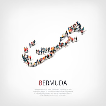 Isometric set of styles, people, map of bermuda , country, web infographics concept of crowded space. crowd point group forming a predetermined shape. creative people.