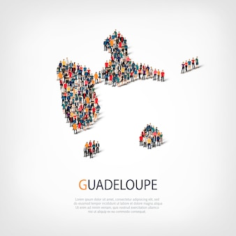 Isometric set of styles, people, map of guadeloupe, country, web infographics concept of crowded space. crowd point group forming a predetermined shape. creative people.