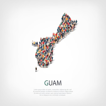 Isometric set of styles, people, map of guam, country, web infographics concept of crowded space. crowd point group forming a predetermined shape. creative people.