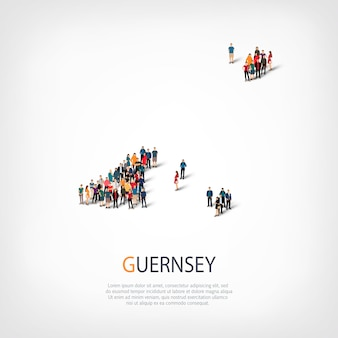 Isometric set of styles, people, map of guernsey, country, web infographics concept of crowded space. crowd point group forming a predetermined shape. creative people.
