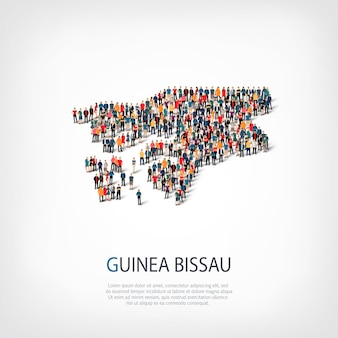 Isometric set of styles, people, map of guinea bissau, country, web infographics concept of crowded space. crowd point group forming a predetermined shape. creative people.