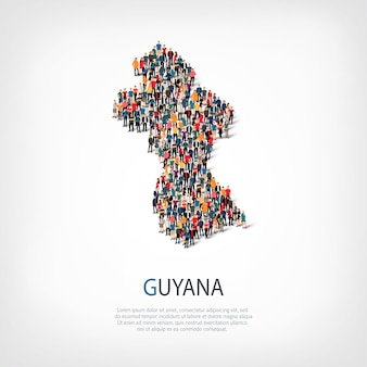 Isometric set of styles, people, map of guyana, country, web infographics concept of crowded space. crowd point group forming a predetermined shape. creative people.