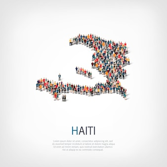 Isometric set of styles, people, map of haiti, country, web infographics concept of crowded space. crowd point group forming a predetermined shape. creative people.