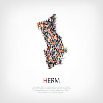 Isometric set of styles, people, map of herm, country, web infographics concept of crowded space. crowd point group forming a predetermined shape. creative people.