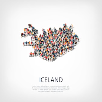 Isometric set of styles, people, map of iceland , country, web infographics concept of crowded space. crowd point group forming a predetermined shape. creative people.