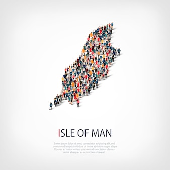 Isometric set of styles, people, map of isle of man , country, web infographics concept of crowded space. crowd point group forming a predetermined shape. creative people.