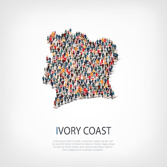 Isometric set of styles, people, map of ivory coast , country, web infographics concept of crowded space. crowd point group forming a predetermined shape. creative people.