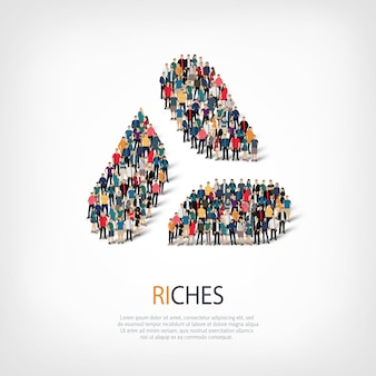 Isometric set of styles, riches, web infographics concept illustration of a crowded square. crowd point group forming a predetermined shape. creative people.