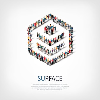 Isometric set of styles, surface, web infographics concept illustration of a crowded square. crowd point group forming a predetermined shape. creative people.