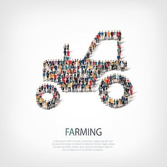Isometric set of styles tractor, farming, web infographics concept of a crowded square