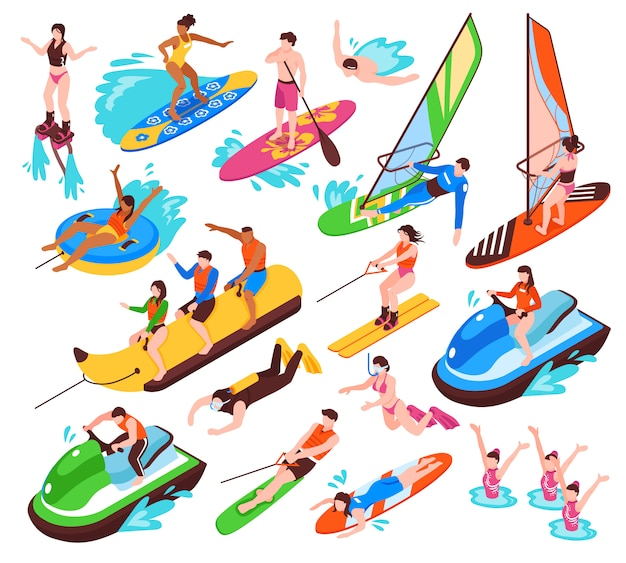 Isometric set of summer water active recreation so as banana boat surfing windsurfing jet skiing flyboarding isolated