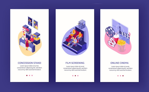 Isometric set of three vertical cinema banners with auditorium concession stand and online movie theater isolated