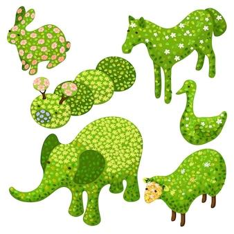 Insieme isometrico di arte topiaria in forme di animali