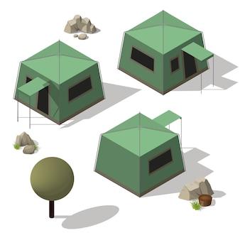 Isometric set of tourist tents.