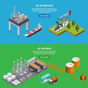 Isometric set of two horizontal banners with oil industry refining and extraction equipment