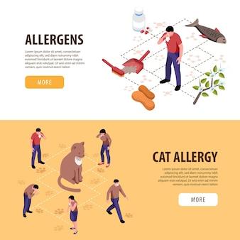Set isometrico di due striscioni orizzontali con persone che hanno allergia ai gatti e altri allergeni 3d isolati
