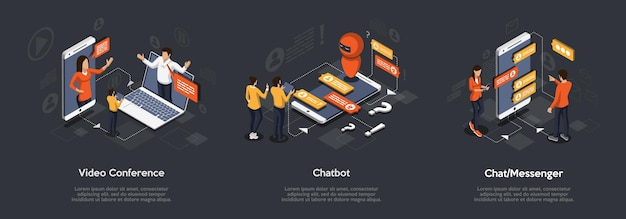 Isometric set of video conference, chatbot and chat messenger. 3d isometric illustration of digital marketing.