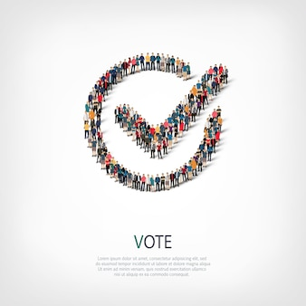Isometric set of vote yes , web infographics concept of a crowded square