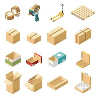 Insieme isometrico con scatole di cartone per vari tipi di merci e prodotti isolati
