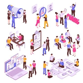 Isometric set with people searching for job on white background 3d