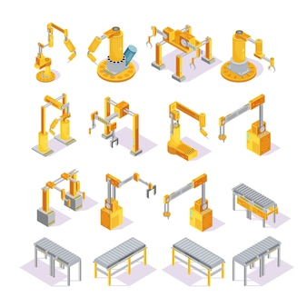 Isometric set of yellow grey conveyor machines with robotic hand for welding or packaging isolated vector illustration