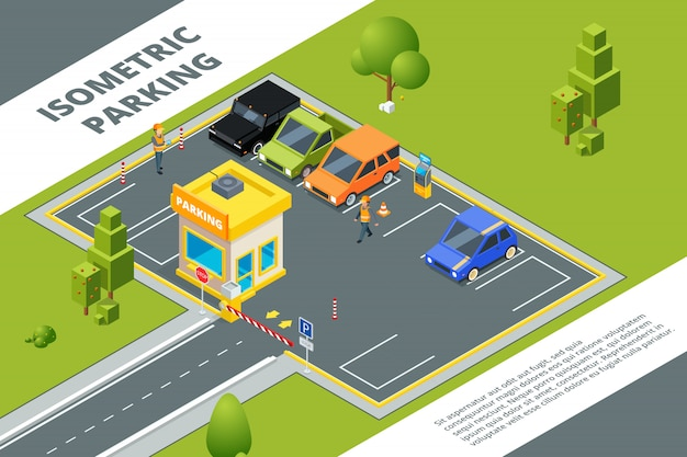Isometric setof urban paid parking with various cars