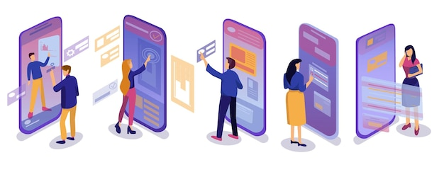 Isometric sets use mobile applications