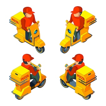Isometric several views of pizza delivery character