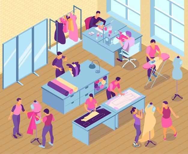 針子と仕立て屋が働いている等尺性の縫製スタジオ Premiumベクター