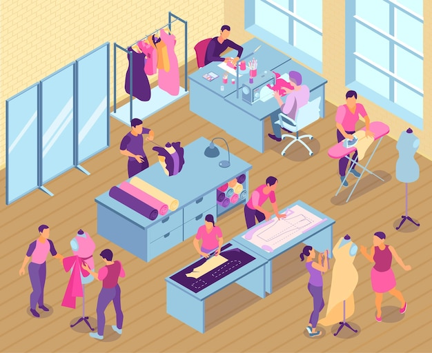Isometric sewing studio  with seamstress and tailors working