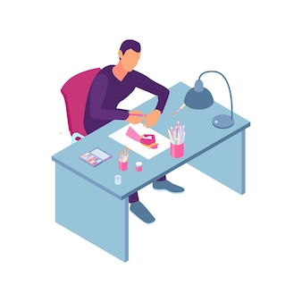 테이블 그림에서 종이 시트에 그림을 그리는 옷 디자이너를 볼 수 있는 아이소메트릭 재봉 작업장 구성