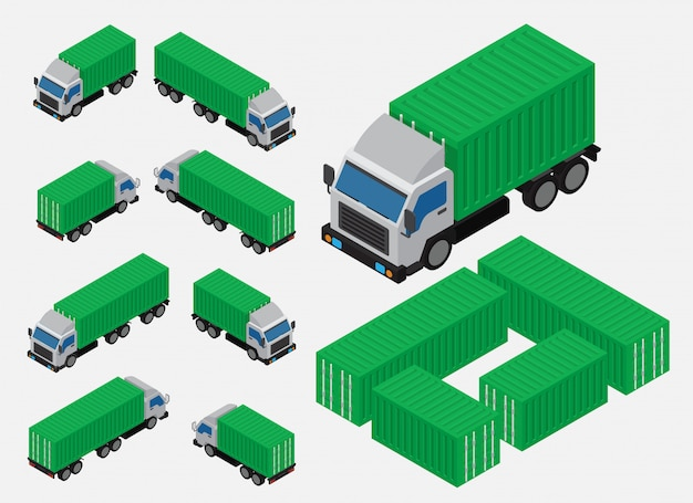 Isometric shipping container truck vector