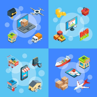 Isometric shipping and delivery icons infographic