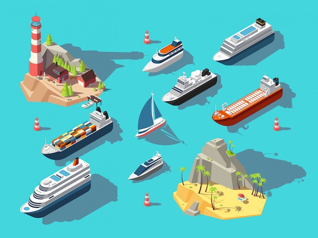 Isometric ships. boats and sailing vessels, ocean tropical island with lighthouse and beach. 3d  illustration