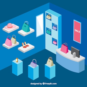 Isometric shoe store with accessories